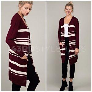 ❄️Burgundy Striped Cottonblend Cardigan